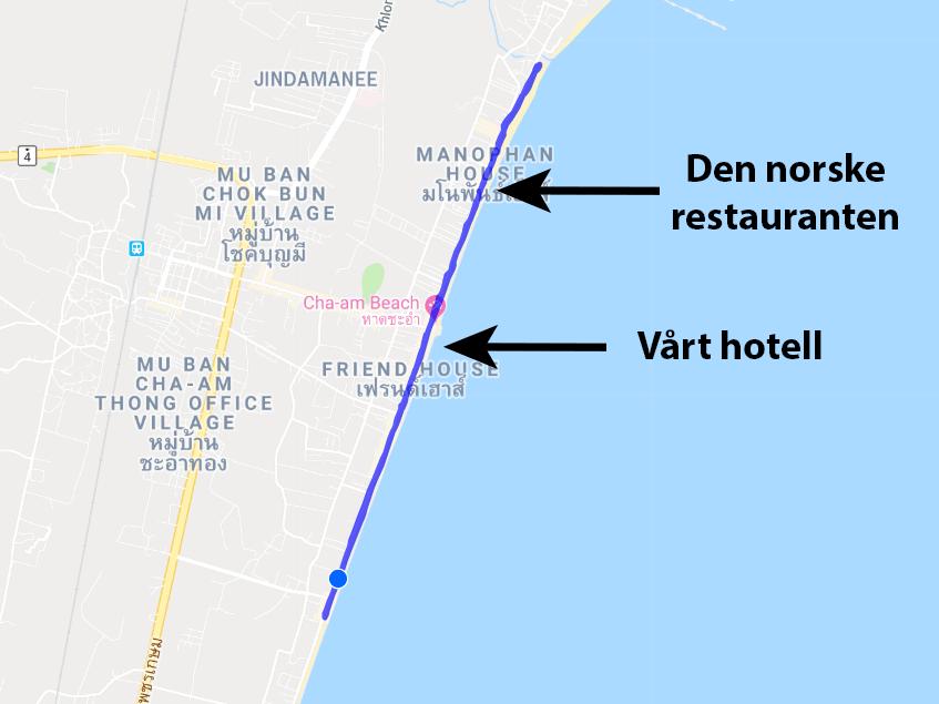 Kart over løpetur langs strandpromenaden i Cha-am
